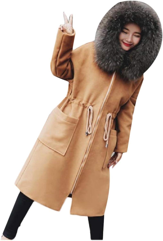 Spodat Women Wrap Drawstring Winter MidLength PeaCoats Zip Wool Coat