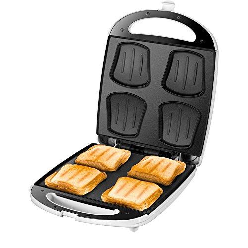 Unold Sandwich Maker Quadro für 4 Toasts gleichzeitig, Antihaft-Beschichtung, Wärmeisolierung, automatische Temperaturregelung, 1.100 Watt, weiß/Edelstahl, Plastik, 4 kilograms