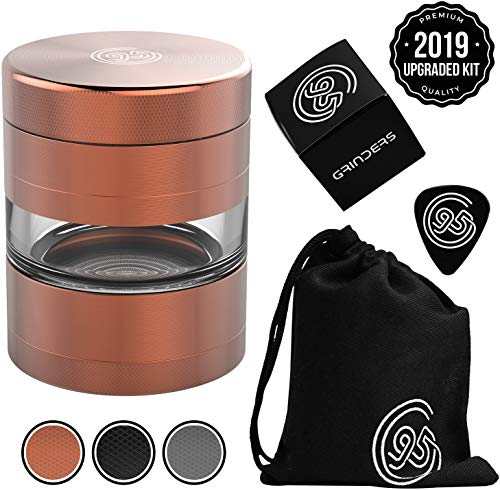 9TO5 GRINDERS Best Herb Grinder – Large 5 Piece Set with Pollen Catcher & Jar – Includes REMOVABLE Stainless Steel Screen/Pollen Scraper/Travel Bag (Copper/Rose Gold)