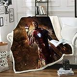DWSM Marvel Avengers Fleece-Decken für Kinder, Heimtextilien, Unisex-Erwachsene, Hulk, Capitan America, Iron Man, 3D-Druck, Mikrofaser, mehrfarbig (12.150 x 200 cm)