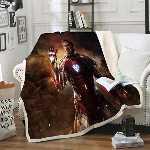 DWSM Marvel Avengers Fleece-Decken für Kinder, Heimtextilien, Unisex, Erwachsene, Hulk, Capitan America, Iron Man, 3D-Druck, Mikrofaser, mehrfarbig, 12, 100*140CM