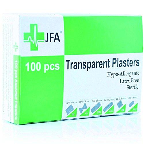 JFA Wasserfeste Pflaster, transparent, 6 verschiedene Größen, 100 Pflaster pro Packung