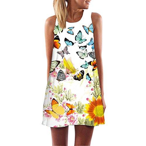 Ruhiku GW Womens Dress Summer O-Neck Boho Sleeveless Floral Printed Beach Mini Dress Casual T-Shirt Short Dress (L, C)