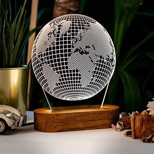Lámpara de noche 3D en forma de globo 3D ilusión nocturna con diseño de globo fresco acrílico lámpara de escritorio regalo para viajeros lámpara de mesa LED
