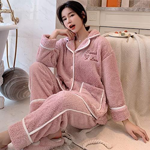 Pijamas Mujer Camisón Conjunto De Pijama De Terciopelo Coral De Doble Felpa con Bordado Dulce De Invierno para Mujer, Pijama De Franela De 2 Piezas, Traje Informal De Talla Grande, Ropa De Hogar
