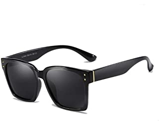 ZMP Square Vintage Retro Outdoor Seaside Sunscreen UV400 Polarized Sunglasses (Color : Black)