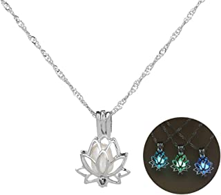 3 Colors Glow in The Dark Necklace Steampunk Hollow Pendant with Chain for Women (Lotus)
