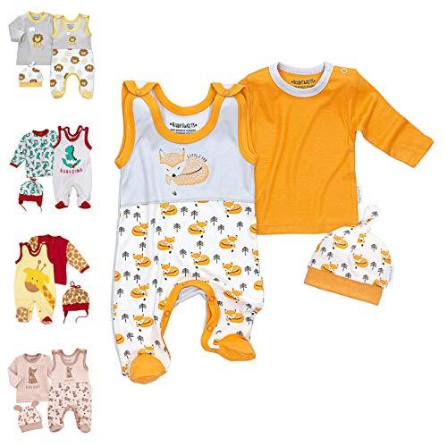 Baby Sweets 3er Baby-Set mit Strampler, Shirt & Mütze für Jungen & Mädchen in Weiß Orange Grau/Erstausstattung-Babykleidung-Set im Fuchs-Design für Neugeborene & Kleinkinder in Größe Newborn (56)