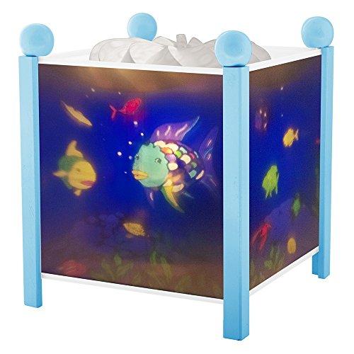 Trousselier - Regenbogenfisch - Nachtlicht - Magische Laterne - Ideales Geburtsgeschenk - Farbe Holz blau - animierte Bilder - beruhigendes Licht - 12V 10W Glühbirne inklusive - EU Stecker