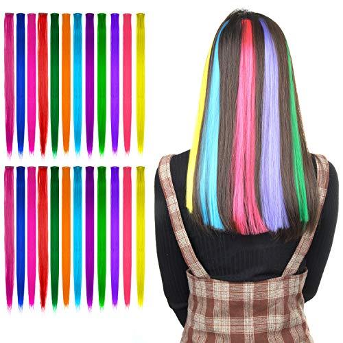 24 Pcs Extension Capelli Colorati Clip, Comius Sharp 55 CM Colored Clip in Hair extensions, Ciocche Colorate per Capelli in 12 Colori Diversi, per Donne Acconciature Cosplay (Straight)