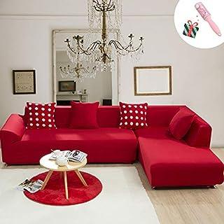 Funda Sofá de 3 plazas Universal Estiramiento, Morbuy Color Sólido Cubierta de Sofá Cubre Sofá Funda Furniture Protector Antideslizante Elastic Soft Sofa Couch Cover (4 plazas,Rojo)