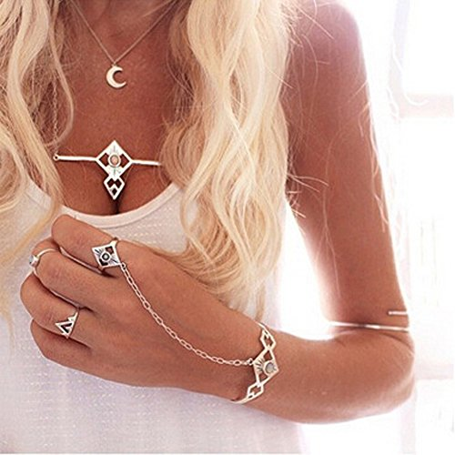 Kercisbeauty Damen-Armband mit Ring, Halloween, Zigeuner, Boho, Silber-Manschette, Armreif, einfache Handkette mit Silberring, Party, Festival, für Mädchen