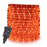 WYZworks 50 feet 1/2' Thick Amber Orange Pre-Assembled LED Rope Lights with 10', 25', 100', 150' Option - Christmas Holiday Decoration Lighting | UL & CSA Certified