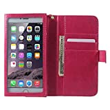 DFV mobile - Crazy Horse PU Leather Wallet Case with Frame Touchable Screen and Card Slots for XIAOMI REDMI 4A GLOBAL 2016117 (2016) - Pink