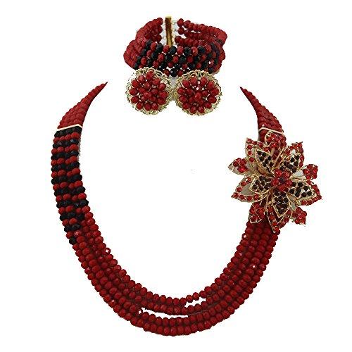 Africanbeads 4filas 6mm rojo y negro mujer fiesta joyas para disfraz de africana de joyería Juego de collar con, Boda de Nigeria