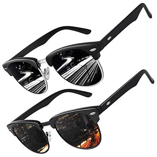 CGID MJ56 Retro Vintage Sonnenbrille im angesagte 60er Browline-Style mit markantem Halbrahmen Sonnenbrille,(2 Packung)