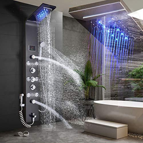 GTFHUH LED Licht Duscharmatur Wasserfall Regen Schwarz Duschpaneel In Wand Duschsystem mit Spa Massage Sprayer Bidet Kopf Handbrause