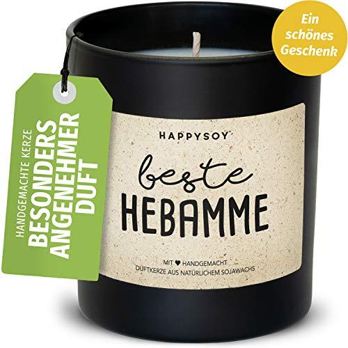 Happysoy Geschenk Beste Hebamme Duftkerze im Glas mit Spruch aus Soja - 100% natürlich handgemacht nachhaltig - persönliche schöne Geschenkidee Geburtshilfe Schwangerschaft Danke Sagen Dankeschön