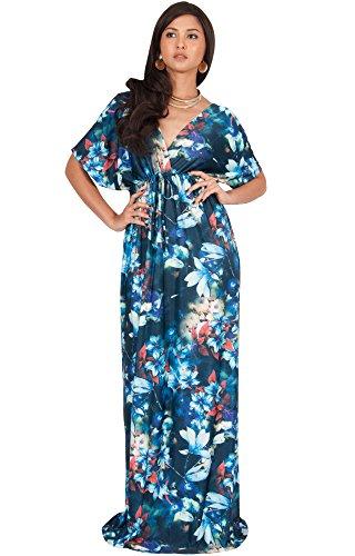 KOH KOH Petite Women Long Floral Print Kimono Short Sleeve V-Neck Summer Casual Boho Bohemian Flower Hawaiian Sundress Sun Gown Gowns Maxi Dress Dresses, Blue & Green S 4-6