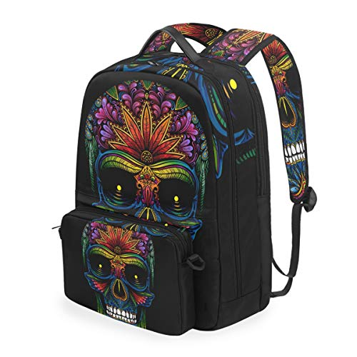 CPYang School Backpack Tribal Mexico Sugar Skull Detachable Shoulder Crossbody Bag Travel Laptop Backapck for Girls Boys Women Men