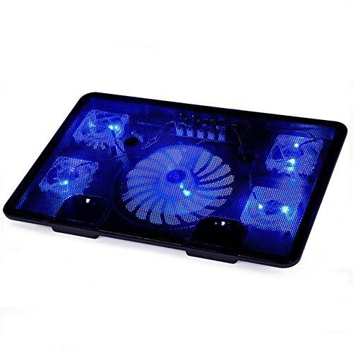 FTUNG Notebook Laptop Kühler, Laptop Kühler, Notebook Cooler Ständer Kühlpad Kühlmatte mit 5 x Lüfter und 2 USB, Cooling Pad mit blauen LEDs für 9