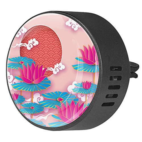 2 uds difusor de aromaterapia difusor de aceite esencial para coche Clip de ventilación hermoso origami nenúfar o flor de loto