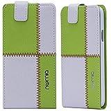 LG L90 Hülle, numia Handyhülle Handy Schutzhülle [Handytasche mit Standfunktion & Kartenfach] Pu Leder Tasche fürLG L90 (D405) Hülle Cover [Weiss-Grün]