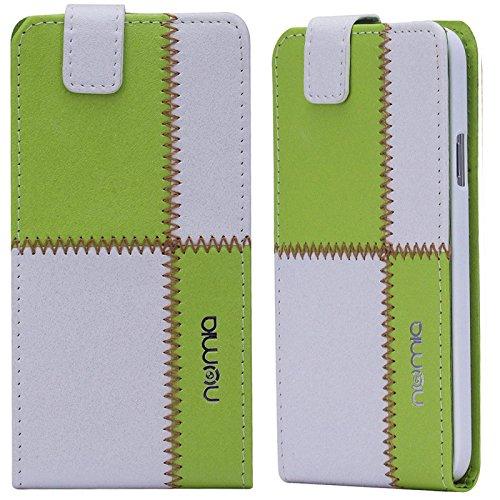 Huawei Ascend G630 Hülle, numia Handyhülle Handy Schutzhülle [Handytasche mit Standfunktion & Kartenfach] Pu Leder Tasche fürHuawei Ascend G630 Hülle Cover [Weiss-Grün]