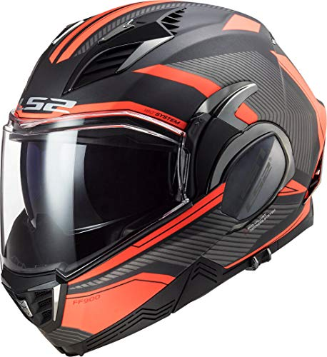 LS2, casco de moto modular VALIANT II revo titanio naranja, S