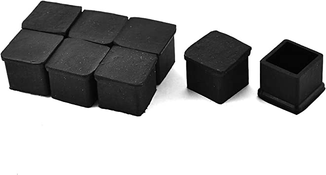 Antrader 1 x 1-1//2 Rectangle Shaped Furniture PVC Rubber Pads Table Chair Leg Foot End Caps Covers Protectors Pack of 8 Black