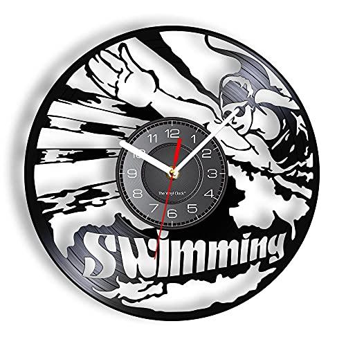 BBZZL Reloj de Pared con Tema de natación, Juego de Agua Retro para Piscina, Auriculares de baño, Gafas, Reloj de Pared LED Retro, Regalo de Nadador Femenino con LED