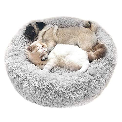 Cozywind Cama para Perros y Gatos,Mascotas Calentito Cojín Redondo Suave de Felpa (70cm, Gris Claro) ✅