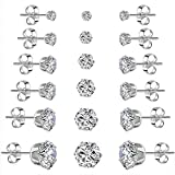 Wome's Stainless Steel Earrings Cubic Zirconia Stud Earrings Set for Women Girls - 6 Pairs Heart & Arrows Cut  Round Clear Square Earrings Christmas Gifts Stocking Stuffers Jewelry Men [並行輸入品]