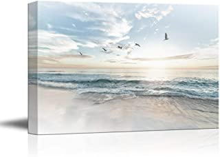 wall26 Canvas Wall Art - Watercolor Style Waves on The Beach with Sea Birds - Giclee Print Gallery Wrap Modern Home Decor Ready to Hang - 32