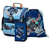 Schulranzen Jungen Set 3 Teilig - Schultasche ab 1. Klasse - Grundschule Ranzen mit Brustgurt - Ergonomischer Schulrucksack (Truck)