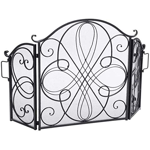 Fireplace Screen 3-Panel Iron Fireplace Screen, Spark Guard with Decor Scroll Design, for Baby Safe Fireplace Fence, 132×85cm/51.9×33.4inch