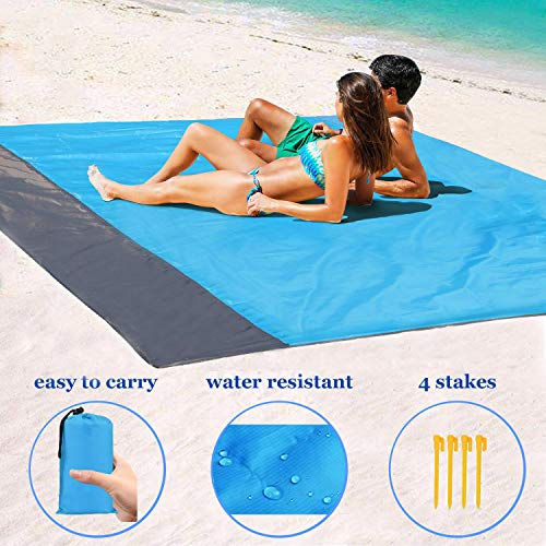 1byhome Beach Blanket 73'x83' (6'x7') Outdoor Picnic Blanket, Waterproof & Sand Free Quick Drying Nylon Outdoor Beach Picnic Mat with with Compact Storage Bag