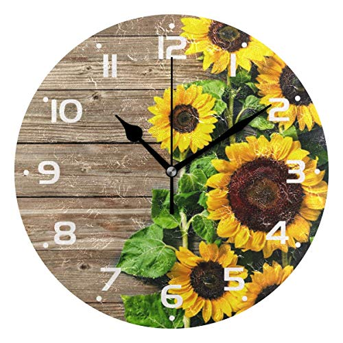 Autumn Sunrs - Reloj de pared con tablero de madera, analógico de cuarzo, silencioso, redondo, reloj de escritorio, funciona con pilas, fácil de leer, decorativo para cocina, dormitorio, baño, sala de