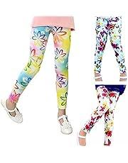 beifon 3Pcs Leggings Niñas Estampados Pantalones Stretch para Niña Elásticos Leggins Pantalones Mallas Deportivas Largas Estampadas de Flores para Niñas Chicas