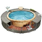 Unfade Memory Spa Surround Rattan Hot Tub Surround Enclosures 111.4', Steel Frame, Gray