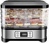 TXOZ-Q Secador eléctrico de deshidratador de alimentos con ajuste de temperatura de 35~70 ° C, Temporizador máximo 72H, pantalla LCD, frutas, nueces de verduras, carnes y chile con 5 bandejas