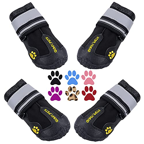 """QUMY Dog Boots Waterproof Shoes for Large Dogs with Reflective Straps Rugged Anti-Slip Sole Black 4PCS / Set (Size 7: 3.1""""x2.7""""(LW), Black)"""