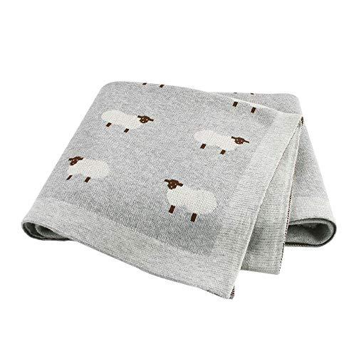 Babydecke Baumwolle Strickdecke, Surwin Mädchen und Jungen Kleines Schaf Muster Kuscheldecke - Vielseitig Nutzbare Baby Decke für Kinderwagen, Babyschale (100x80cm,grau)