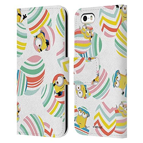 Head Case Designs Licenza Ufficiale Minions: Rise of Gru(2021) Modello Uovo a Strisce Pasqua 2021 Cover in Pelle a Portagoglio Compatibile con Apple iPhone 5 / iPhone 5s / iPhone SE 2016