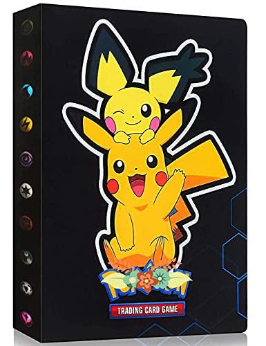 Album Compatible Con Pokemon, Album Compatible Con Pokemon Para Cartas, Álbum de Pokemon, Carpeta compatible con Cartas Pokemon, Album compatible con Cartas de Pokemon(Black Pikachu)