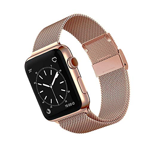 OKPPA Compatible for Apple Watch Band 38mm 40mm 42mm 44mm, Adjustable Magnetic Stainless Steel Mesh Metal Closure Loop with Iwatch Series 5 4 3 2 1(Rose Gold, 42mm/44mm)