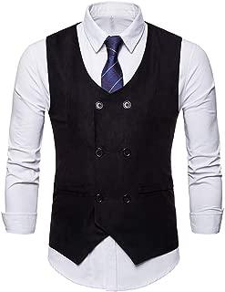 Formal Double-Breasted Suede Tuxedo Suit Waistcoat Vest Jacket Top Coat