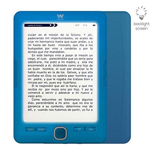 """Woxter Scriba 195 Paperlight Blue - Lector de Libros Electrónicos de 6"""" (1024 x 758, E-ink pearl, Pantalla RETROILUMINADA, EPUB, PDF, Micro SD, guarda más de 4000 libros, Textura engomada) Color Azul"""