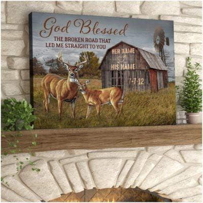 God Blessed The Broken Road Buck Doe Custom Deer Bombing new work Direct stock discount Da And Name