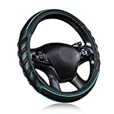 Flying Banner car Steering Wheel Cover Faux Leather Massage Universal fit 3D Honeycomb Hole Anti-Slip Sporty 15 Inches (Mint Green Black)